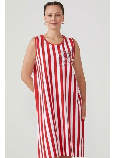 Sementa Büyük Beden Kolsuz Çizgili Kadın Elbise  Kırmızı